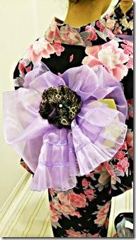 花火大会へ浴衣にかわいいリボン帯 (2)