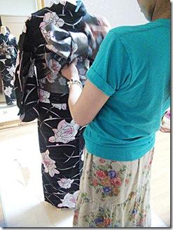 かわいい半幅帯結びを浴衣に٩ (3)