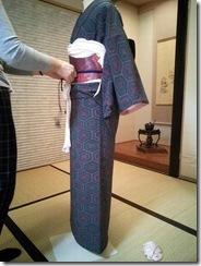 普段着の小紋を着付けて (2)