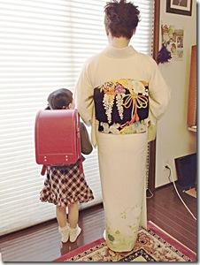 入学式にかわいいランドセルとお着物 (2)