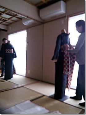 紬の着付練習