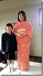 お子様の入学式に着物で