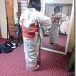 小紋に名古屋帯のテストを高須教室で(^O^)/♪