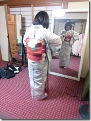 小紋に名古屋帯のテストを美和きもの教室で(^O^)/♪