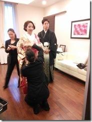 婚礼模擬挙式の着付に式場へ (4)