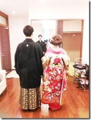 婚礼模擬挙式の着付に式場へ (5)