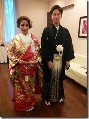 婚礼模擬挙式の着付に式場へ