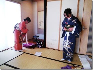 土曜日に涼しく礼装着の着付練習を(^O^)/♪