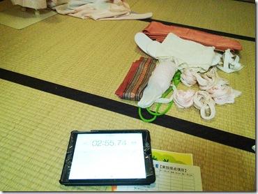 美和きもの教室で振袖の他装着付練習を (2)