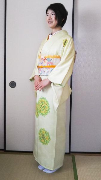 爽やかな色合いの着物で結婚式へ(^O^)/♪