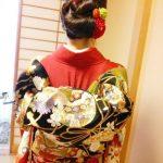 華やかな振袖にふくら雀の帯結とヘアセット(^O^)♪