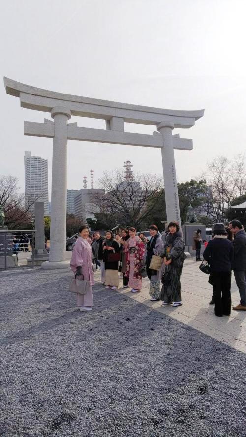 訪問着や小紋で広島護国神社へ初詣に