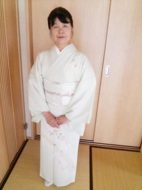 広島の着付け教室で夏の訪問着を着付けて(^^)♪