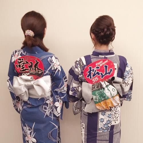 カープ女子の浴衣着付け(^o^)♬