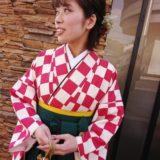 レトロ柄の袴で大学の卒業式へ(^^)♪